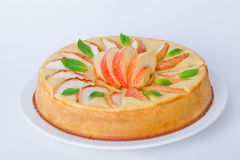 Pie with apple mint whole isolated white background Royalty Free Stock Images
