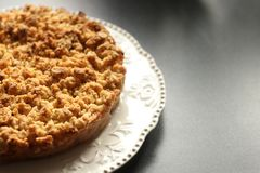 Free Pie, Apple, White Plate. Gluten Free Apple Crisp Pie On A Dark Table. Autumn Concept Royalty Free Stock Images - 161387709