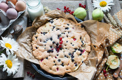 Pie with apples and berries Stock Image