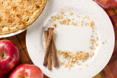Pie, Apples, Cinnamon Sticks, Copy Space Crumbs Royalty Free Stock Photography