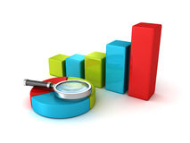 Pie and bar chart diagrams and magnifier glass royalty free illustration