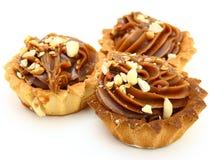 Pie a basket with chocolate condensed milk Stock Photos