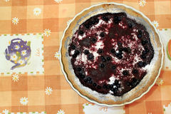 Pie with bilberry on the plate Stock Photo