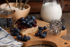 Pie with blueberry stock images