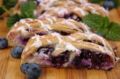 Pie  with blueberry Stock Photos