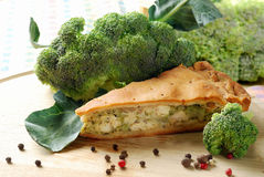 Pie with broccoli Stock Images