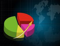 Pie business graph. With world map Royalty Free Stock Images