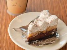 Pie cake with banana and chocolate Stock Photo