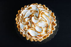 Pie cake with burned meringue cream top, beautiful pattern, isolated Stock Photography