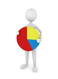 Pie Chart. Man holding a colorful pie chart; great for depicting marketing, presentation, statistics and business concepts Stock Photo