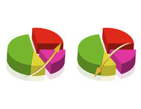 Pie chart. Colorful Pie charts templates isolated over a white background Royalty Free Stock Photography
