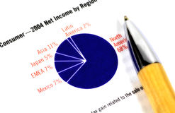 Pie Chart 2. Pie Chart and a Pen Stock Image