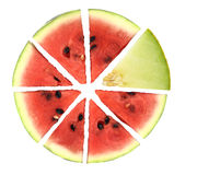 Pie chart. Of watermelon slices Stock Photography