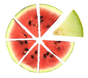Pie chart. Of watermelon slices Stock Photo