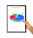 Pie chart. Clipboard in  hand with pie chart Royalty Free Stock Photography