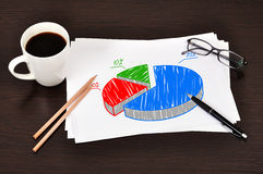 Pie chart. Workplace with pie chart on paper Royalty Free Stock Photography