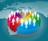 Pie chart. People on pie chart with world map Royalty Free Stock Photos
