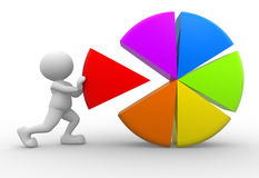 Pie chart. 3d people - man, person with colorful pie chart Stock Photos