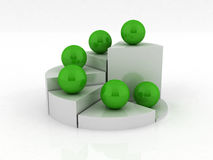 Pie chart 3D. 3D Pie chart/fraph in white with green balls/spheres on it Royalty Free Stock Photo