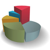 Pie chart 3D to success on shadow Royalty Free Stock Image