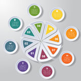Pie chart or area chart diagram infographics eight position. Pie chart or area chart diagram data Elements For Template infographics eight position. Business Stock Photo