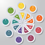 Pie chart or area chart diagram infographics nine position. Pie chart or area chart diagram data Elements For Template infographics nine position. Business Royalty Free Stock Images