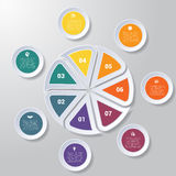 Pie chart or area chart diagram infographics seven position. Pie chart or area chart diagram data Elements For Template infographics seven position. Business Stock Photography