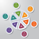 Pie chart or area chart diagram infographics six position. Pie chart or area chart diagram data Elements For Template infographics six position. Business Royalty Free Stock Photography