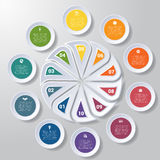 Pie chart or area chart diagram infographics ten position. Pie chart or area chart diagram data Elements For Template infographics ten position. Business Royalty Free Stock Images