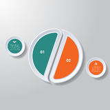 Pie chart or area chart diagram infographics two position. Pie chart or area chart diagram data Elements For Template infographics two position. Business Royalty Free Stock Photo