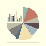 Pie chart and bar chart for documents and reports. Flat style with long shadow Stock Photo