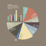 Pie chart and bar chart for documents and reports infographic. Flat style design Royalty Free Stock Photo