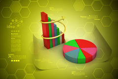 Pie chart and bar graph Royalty Free Stock Images