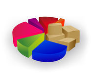 Pie chart with boxes Stock Photography