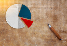 Pie chart on brown texture background business concept Royalty Free Stock Photos