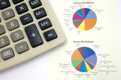 Pie chart and calculator Royalty Free Stock Images
