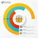 Pie chart. Circle with brain. Infographic design template. Vector illustration Royalty Free Stock Photos