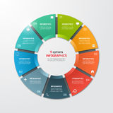 Pie chart circle infographic template with 9 options. Business concept. Vector illustration Royalty Free Stock Images