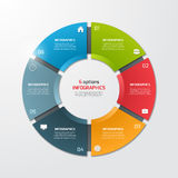 Pie chart circle infographic template with 6 options. Business concept. Vector illustration Royalty Free Stock Photos