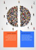 Pie chart composed of people divided in half. Statistics and demographics infographics. Vector illustration Stock Photo