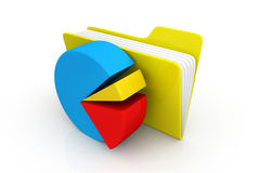 Pie chart with computer folder Royalty Free Stock Photo