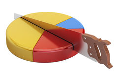 Pie chart with cutting saw. Financial risk concept, 3D rendering Stock Images