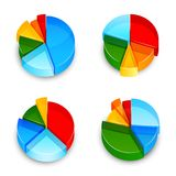 Pie Chart 3d Icons Set Stock Photos