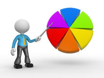 Pie chart. 3d people - man, person pointing a pie chart Stock Image