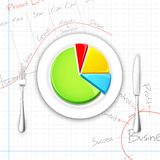 Pie chart on Dish with Fork and Knife. Illustration of pie chart presented on dish with fork and knife Stock Image