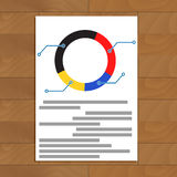 Pie chart document. Development trend economic infomation, vector illustration Royalty Free Stock Image
