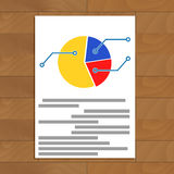 Pie chart document. Infographic and infochart plan on paper sheet, vector illustration Stock Image