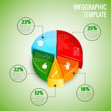 Pie chart education infographic. Colored abstract 3d pie chart education infographic element with sector labels vector illustration Stock Photo
