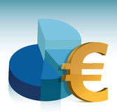 Pie chart euro sign illustration. Design Royalty Free Stock Images