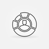 Pie chart with face inside outline icon. Man in diagram vector symbol or logo element in thin line style Stock Photo